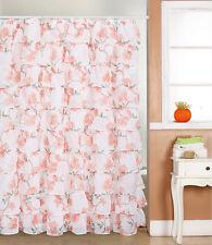 "Gypsy Ruffled Voile Sheer Shower Curtain 72"" wide x 72"" long ORANGE FLOWER"