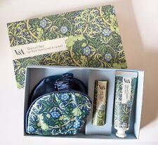 💗 V&A Travel Gift Set 💗 Seaweed Print Lip Balm Hand Cream Eye Mask NEW RRP £25