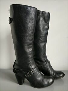Clarks Black Leather Knee High Boots with Back Zip & Buckle Detail Size UK 6