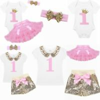 Toddler Infant Girl Romper Jumpsuit First 1st Birthday Crown Tutu Party Dress