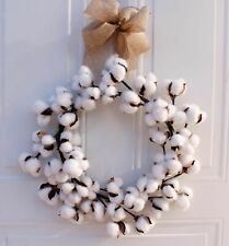 Real Cotton Wreath Farmhouse Decor Christmas Vintage Home Decoration 14 Inch