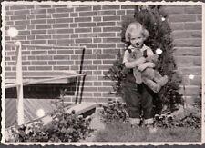 VINTAGE PHOTOGRAPH 1957 GIRLS FASHION STUFFED TEDDY BEAR TOY STEIFF? OLD PHOTO
