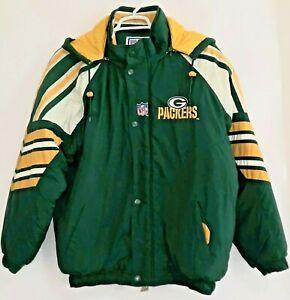 VTG 90's Starter NFL Mens L Green Bay Packers Full Zip Hooded Quilt Lined Jacket
