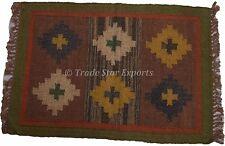 Handmade Kilim Rug Indian Jute Carpet Ethnic Runner Area Rug 2X3 Feet Yoga Mat
