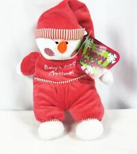 "Sugar Loaf Baby's First Christmas Snowman Plush Rattle 14""   2009 "