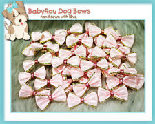 ~BabyRou~ 20pc Dog Grooming Ribbon Pet Bows (Classic Pink & Gold)