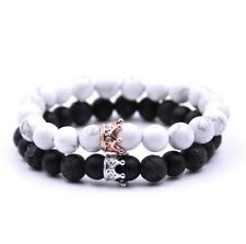 2pcs King Queen Crown Couple Bracelets His and Her Friendship 8mm Beads Bracelet