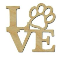 Love Paw Print Unfinished Wood Cut Out Variety Of Sizes Artistic Craft Supply