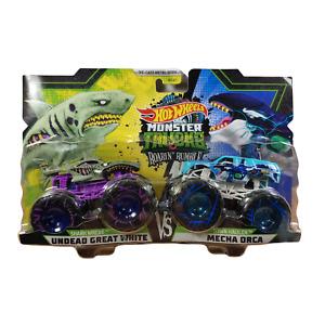 Hot Wheels Monster Trucks Roarin' Rumble Undead Great White Vs  Mecha Orca 2 PK