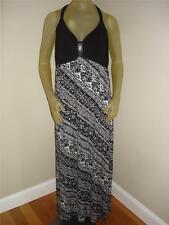 NWT Lena Black / White Rhinestone Criss Cross Spaghetti Strap Dress Womens 14 16