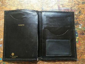 Vintage Retro Black Leather Travel Wallet for Passport Cards WH Smith