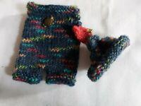Tricoter Ensemble Pour Env. 12-13 CM + Bonnet Avec Trous D'Oreille Oursons Ou