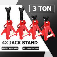 4PCS 3T Car Truck Jack Stand Ratchet Height Adjustable Lift Hoist Steel