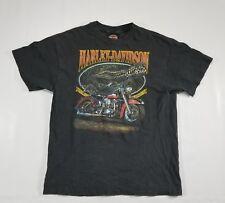 Harley Davidson Texas Gator Alligator Graphic T Shirt LARGE Black faded VTG USA