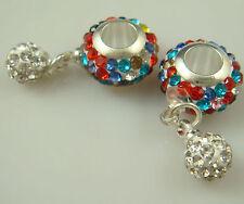 Gorgeous Czech Crystals Dangle Bead fit European Charm 925 Bracelet Earring a1