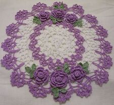 wood violet/purple roses doily crocheted  by Aeshagirl