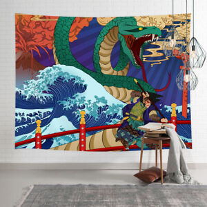 Ukiyo-e Japanese Tapestry Wall Art Hanging, Psychedelic Tapestries Sea Waves
