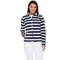 Isaac Mizrahi Women's Striped Button Front Knit Jacket Dark Navy Large Size QVC