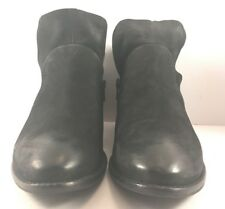 Seychelles Black Leather Side Zip Short Ankle Boots Womens Size US 8M