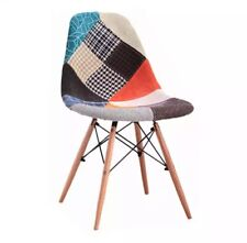 Tulip Patchwork Fabric Lounge Dining Chair Seat Vintage Retro Home Furniture