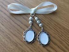 Bridal Bouquet Double Oval Photo Frame Memory Charm Wedding Swarovski Beads