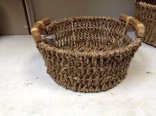 Round Woven Seagrass Storage Organizer Toy Bathroom Basket Wood Handles 13x6 Med