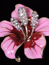 """RHINESTONE TROPICAL ISLAND PINK MAUVE LILY HIBISCUS FLOWER PIN BROOCH JEWELRY 2"""""""