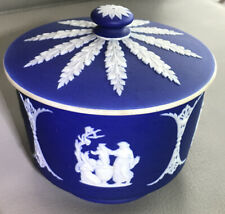 Antique Wedgewood Cobalt Blue Jasperware Lidded Box Neoclassical England 19th C