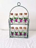 Spice Rack Glass Jars Vintage Set Of 8 Metal Wire Green Grapes 2 Tier RARE