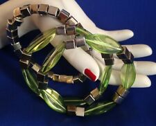 LOVELY PRE-LOVED TRIPLE STRETCH BRACELETS SET IN SILVER AND LIME
