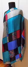*Immaculate Blue, Grey & Red Embossed Silk Scarf- 87cm Square