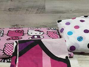 HELLO KITTY 3-pc Sheet Twin Set 2015 Sanrio Pink Kitty Bows Polka-Dots