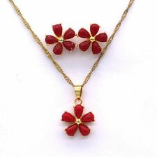 Jewelry Set Red Coral Stone 18K Gold Plated Pendant&Earrings No Chain