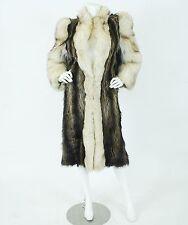 Glamorous 1980s Vintage Long Fox and Raccoon Fur Dramatic Shoulder Coat Sz S-M
