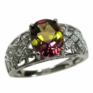 AWESOME 3 CT OVAL CUT AMETRINE 925 STERLING SILVER RING SIZE 5-10