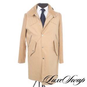 #1 MENSWEAR Tim Coppens Camel Flannel Shearling Hood Cotton Long Coat S NR RARE