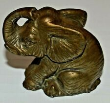 """Brass Elephant With Trunk Up 2"""" Long X 1-3/4"""" Tall Paperweight or Figurine"""