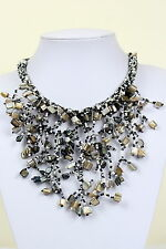 Black Agate Necklace Chunky Choker Black Bib Necklace Collar Jewellery DB13