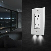Pro Duplex Night Angel Light Sensor 2 LED Plug Cover Wall Outlet Cover plate Lot