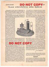 NIKOLA TESLA - wireless electric light - original 1901 Spain article
