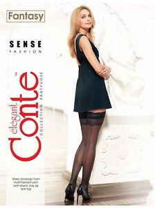 Conte Fancy STOCKINGS Sense Fashion | Sexy Sheer Back Seam Stay Ups, Lace Top