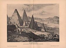 1903 HISTORICAL GERMAN PRINT ~ EGYPTIAN PYRAMIDS