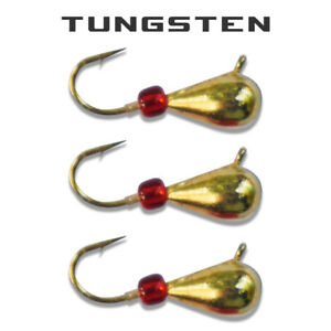 3 Pack - Tungsten Ice Fishing Jigs - GOLD WITH RED BEAD (6 Size Variations)