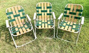 3 Vintage Aluminum Folding Lawn Chair Beach Woven Lawn Patio Green Beige Retro