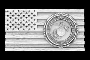 3D STL Model for CNC Router Artcam Flag USA America military Eagle D668