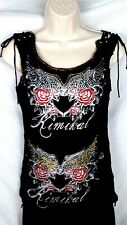 Kimikal womens tank top size M black glitter rhinestone wings roses lace up