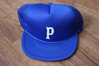 "Vintage Mesh Royal Blue ""P"" Trucker Cap Hat Snapback"