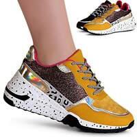 Damen Keil Sneaker Materialmix Plateau Turnschuhe Chunky Derby Glitzer