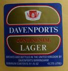 VINTAGE BRITISH BEER LABEL - DAVENPORTS CONTINETAL LAGER, 9 2/3 FL OZ