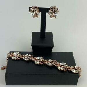 Kyles Collection Jewellery Swarovski Earrings With Bracelet Set Rose Gold